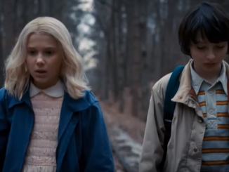 Mike and Eleven walking down the train tracks while searching for the gate to The Upside Down